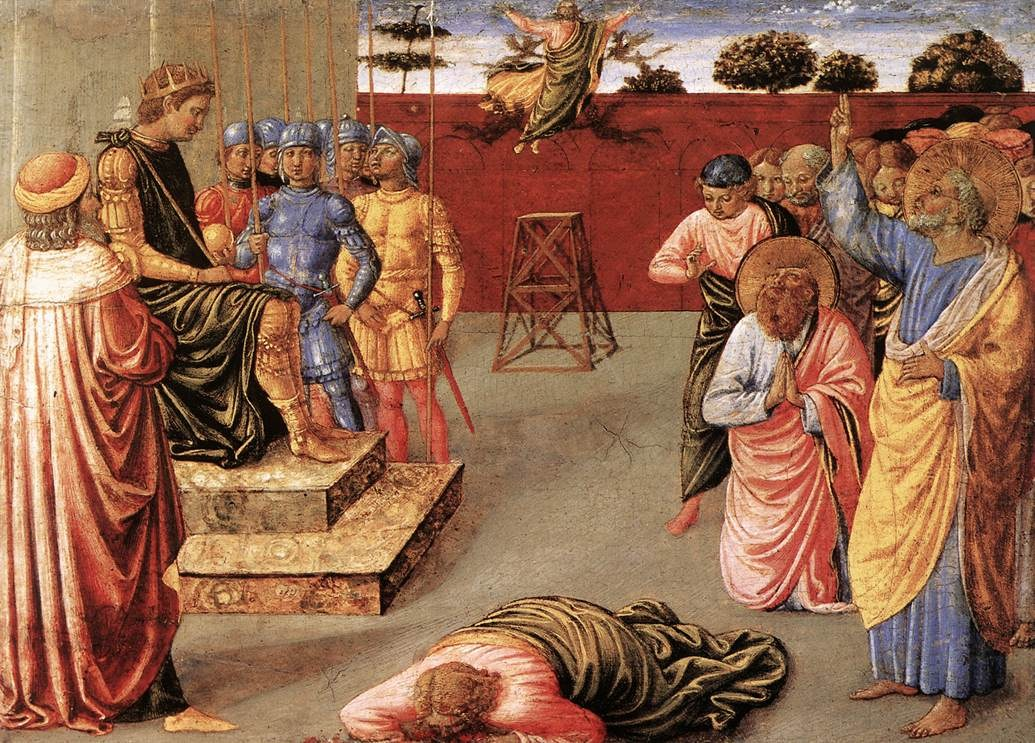 The history of the church by eusebius pamphili a scholarly review the fall of simon the magus at the hands of peter painted by benozzo gozzoli fandeluxe Image collections